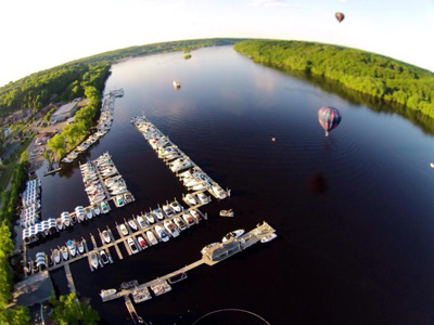Hot air balloons over St. Croix River